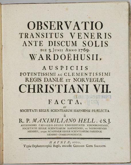 Tittelbladet på astronomen Maximilián Hells beskrivelser av observasjonene hans i Vardø